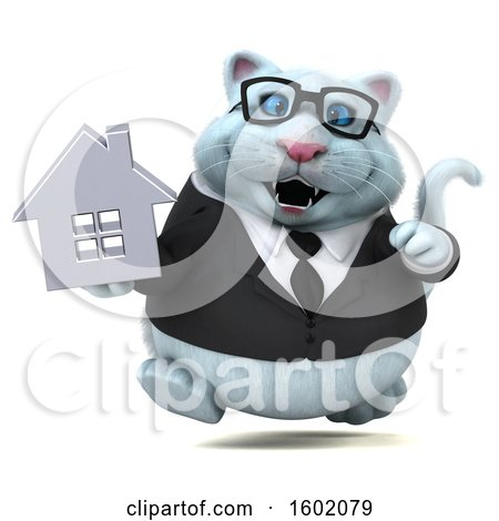 Clipart of a 3d White Business Kitty Cat Holding a House, on a White Background - Royalty Free Illustration by Julos