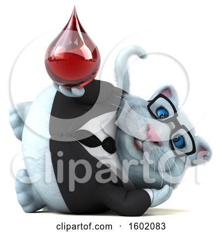 Clipart of a 3d White Business Kitty Cat Holding a Blood Drop, on a White Background - Royalty Free Illustration by Julos