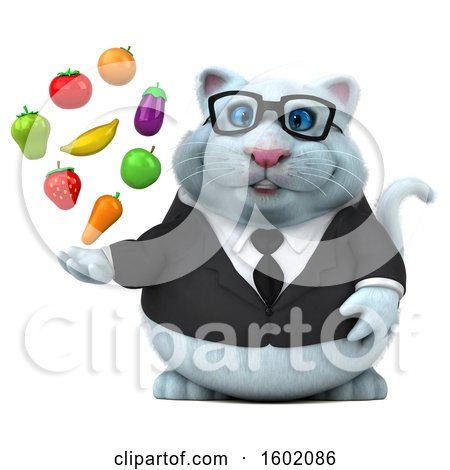 Clipart of a 3d White Business Kitty Cat Holding Produce, on a White Background - Royalty Free Illustration by Julos