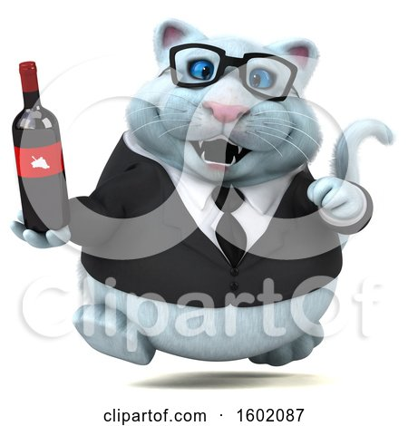 Clipart of a 3d White Business Kitty Cat Holding Wine, on a White Background - Royalty Free Illustration by Julos