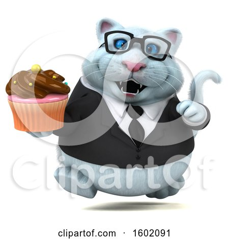Clipart of a 3d White Business Kitty Cat Holding a Cupcake, on a White Background - Royalty Free Illustration by Julos