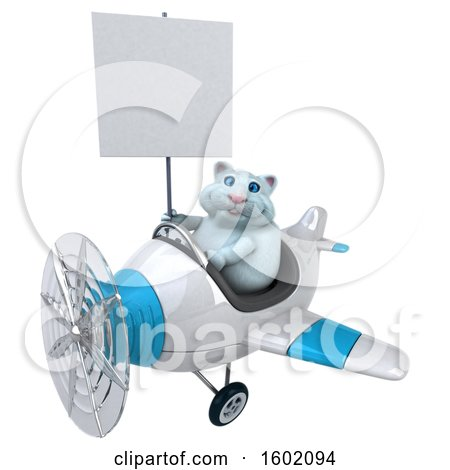 Clipart of a 3d White Kitty Cat Flying a Plane, on a White Background - Royalty Free Illustration by Julos