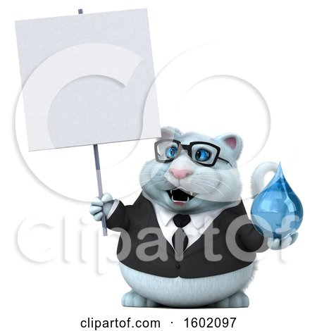 Clipart of a 3d White Business Kitty Cat Holding a Water Drop, on a White Background - Royalty Free Illustration by Julos