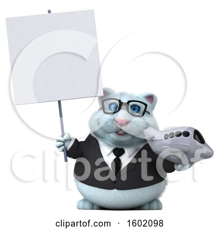 Clipart of a 3d White Business Kitty Cat Holding a Plane, on a White Background - Royalty Free Illustration by Julos