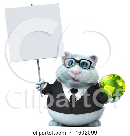Clipart of a 3d White Business Kitty Cat Holding a Globe, on a White Background - Royalty Free Illustration by Julos