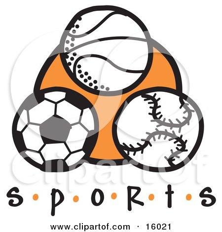 Basketball, Soccer Ball And Baseball Clipart Illustration Posters, Art Prints