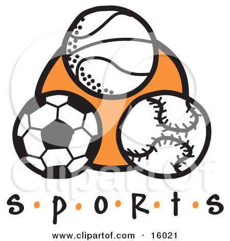 Basketball, Soccer Ball And Baseball Clipart Illustration by Andy Nortnik