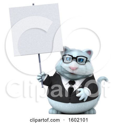 Clipart of a 3d White Business Kitty Cat Holding a Sign, on a White Background - Royalty Free Illustration by Julos
