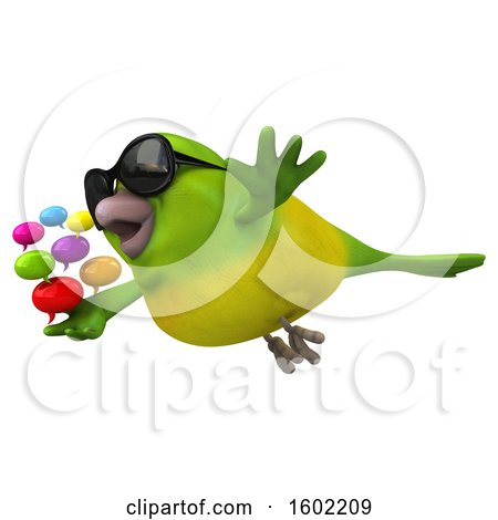 Clipart of a 3d Green Bird Holding Messages, on a White Background - Royalty Free Illustration by Julos