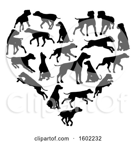 Clipart of a Heart Made of Black Silhouetted Dalmatian Dogs - Royalty Free Vector Illustration by AtStockIllustration