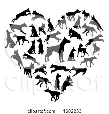 Clipart of a Heart Made of Black Silhouetted Dobermann Dogs - Royalty Free Vector Illustration by AtStockIllustration