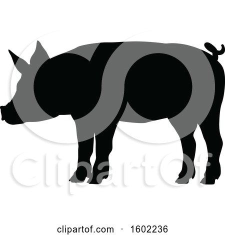 Clipart of a Black Silhouetted Pig - Royalty Free Vector Illustration by AtStockIllustration
