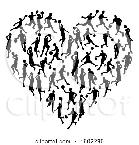 Clipart of a Heart Made of Black Silhouetted Basketball Players - Royalty Free Vector Illustration by AtStockIllustration
