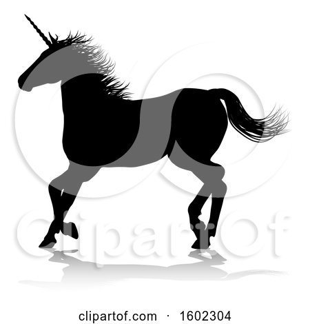 Clipart of a Black Silhouetted Unicorn Horse, with a Reflection or Shadow, on a White Background - Royalty Free Vector Illustration by AtStockIllustration