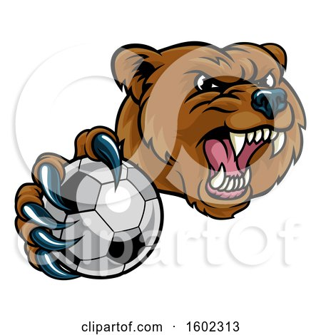 Clipart of a Mad Grizzly Bear Mascot Holding out a Soccer Ball in a Clawed Paw - Royalty Free Vector Illustration by AtStockIllustration
