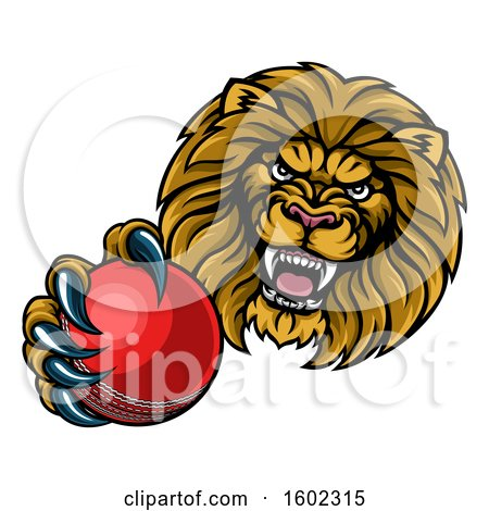 Clipart of a Tough Lion Monster Mascot Holding out a Cricket Ball in One Clawed Paw - Royalty Free Vector Illustration by AtStockIllustration