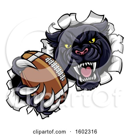 Clipart of a Black Panther Mascot Breaking Through a Wall with an American Football - Royalty Free Vector Illustration by AtStockIllustration
