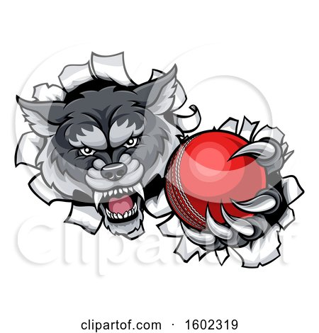 Clipart of a Tough Wolf Monster Mascot Holding out a Cricket Ball in One Clawed Paw and Breaking Through a Wall - Royalty Free Vector Illustration by AtStockIllustration