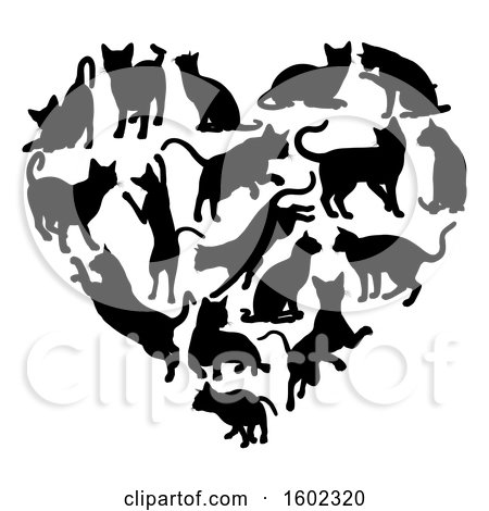 Clipart of a Heart Made of Black Silhouetted Cats - Royalty Free Vector Illustration by AtStockIllustration