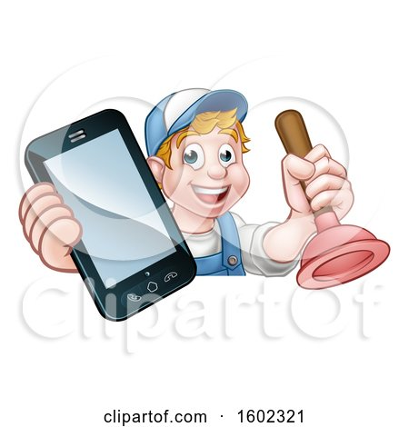 Clipart of a Happy White Male Plumber Holding a Plunger and Cell Phone over a Sign - Royalty Free Vector Illustration by AtStockIllustration
