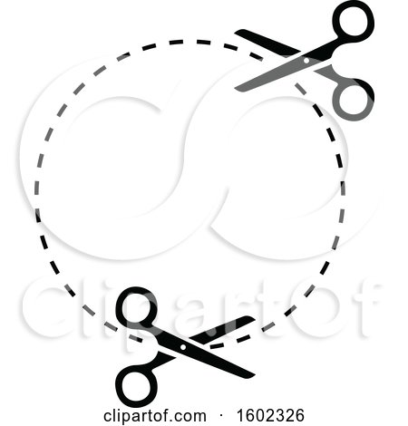 Clipart of a Black and White Circle with Scissors and Cut Lines - Royalty Free Vector Illustration by dero