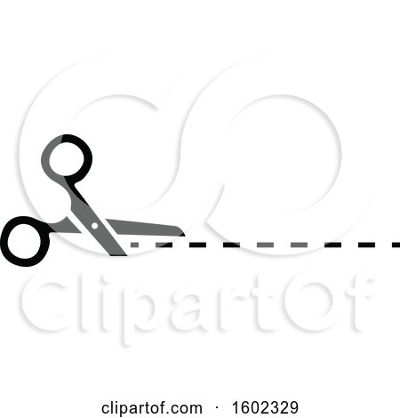 Clipart of a Black and White Pair of Scissors and Cut Lines - Royalty Free Vector Illustration by dero