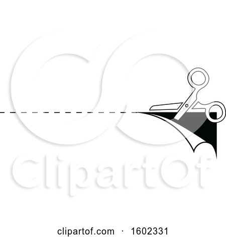 Black and White Pair of Scissors and Cut Lines Posters, Art Prints