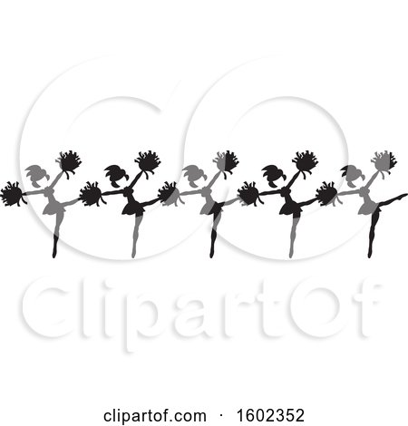 Clipart of a Line of Kicking Cheerleaders in Black and White - Royalty Free Vector Illustration by Johnny Sajem
