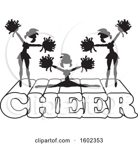 Clipart Of Silhouetted Cheerleaders In Black And White Jumping And