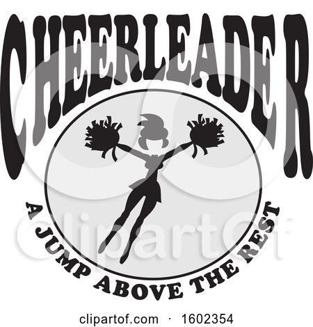 Clipart of a Jumping Cheerleader with a Jump Above the Rest Text - Royalty Free Vector Illustration by Johnny Sajem