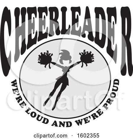 Clipart of a Jumping Cheerleader with Were Loud and Were Proud Text - Royalty Free Vector Illustration by Johnny Sajem