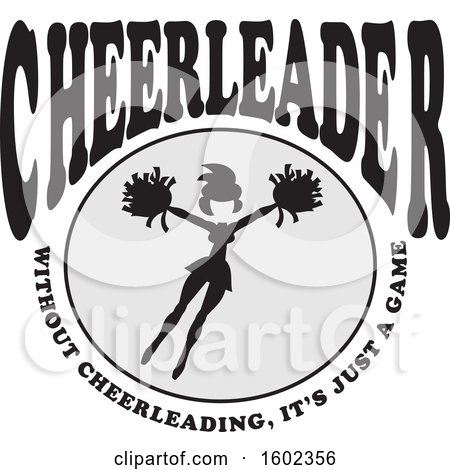 Clipart of a Jumping Cheerleader with Without Cheerleading Its Just a Game Text - Royalty Free Vector Illustration by Johnny Sajem