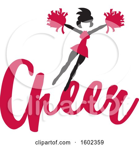 Clipart of a Jumping Cheerleader Above Cardinal Red Cheer Text - Royalty Free Vector Illustration by Johnny Sajem