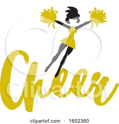 Clipart of a Jumping Cheerleader Above Yellow Cheer Text - Royalty Free Vector Illustration by Johnny Sajem
