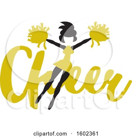 Clipart of a Jumping Cheerleader over Yellow Cheer Text - Royalty Free Vector Illustration by Johnny Sajem
