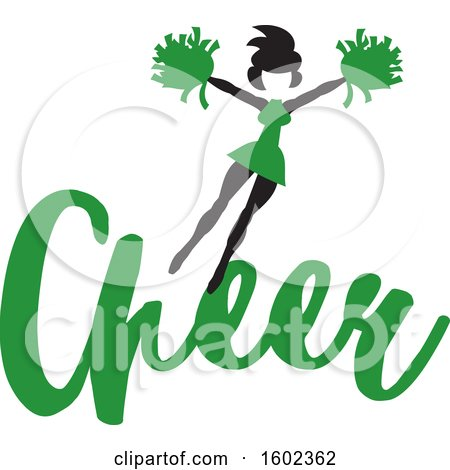 Clipart of a Jumping Cheerleader Above Green Cheer Text - Royalty Free Vector Illustration by Johnny Sajem