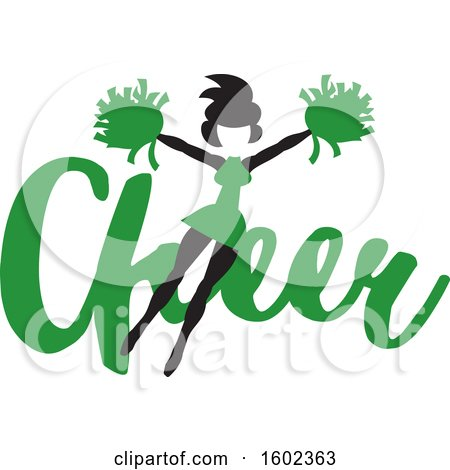 Clipart of a Jumping Cheerleader over Green Cheer Text - Royalty Free Vector Illustration by Johnny Sajem