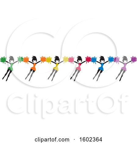 Clipart of a Row of Colorful Jumping Cheerleaders - Royalty Free Vector Illustration by Johnny Sajem