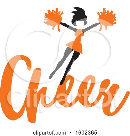 Clipart of a Jumping Cheerleader Above Orange Cheer Text - Royalty Free Vector Illustration by Johnny Sajem