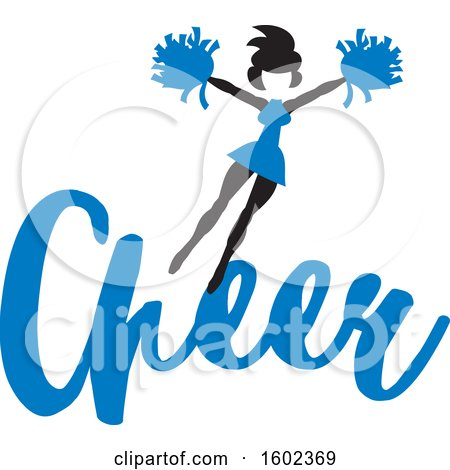 Clipart of a Jumping Cheerleader Above Blue Cheer Text - Royalty Free Vector Illustration by Johnny Sajem