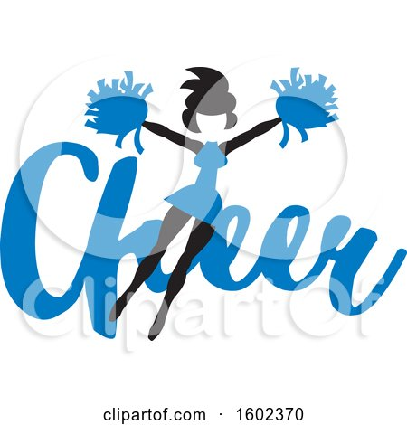 Clipart of a Jumping Cheerleader over Blue Cheer Text - Royalty Free Vector Illustration by Johnny Sajem