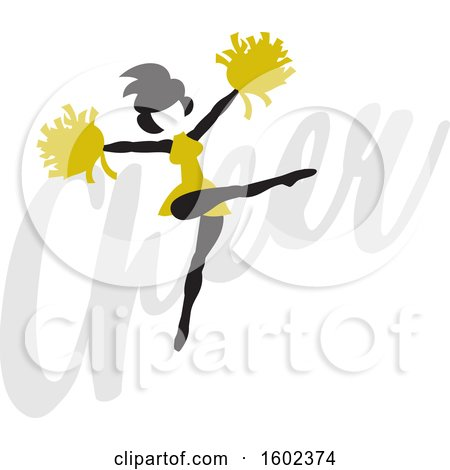Clipart of a Silhouetted Jumping Cheerleader in Gold, over the Word Cheer - Royalty Free Vector Illustration by Johnny Sajem