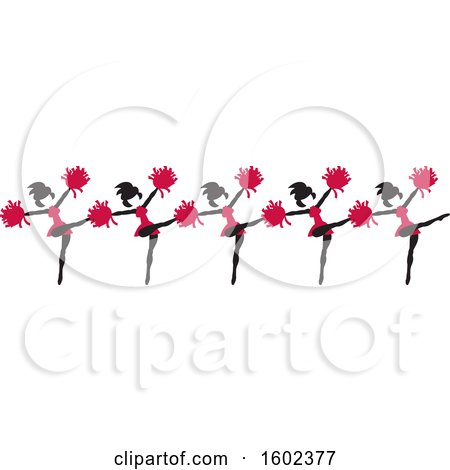 Clipart of a Line of Kicking Cheerleaders in Cardinal Red - Royalty Free Vector Illustration by Johnny Sajem