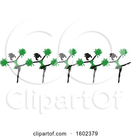 Clipart of a Line of Kicking Cheerleaders in Green - Royalty Free Vector Illustration by Johnny Sajem