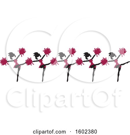 Clipart of a Line of Kicking Cheerleaders in Maroon - Royalty Free Vector Illustration by Johnny Sajem