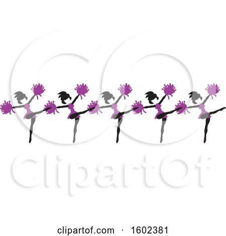 Clipart of a Line of Kicking Cheerleaders in Purple - Royalty Free Vector Illustration by Johnny Sajem