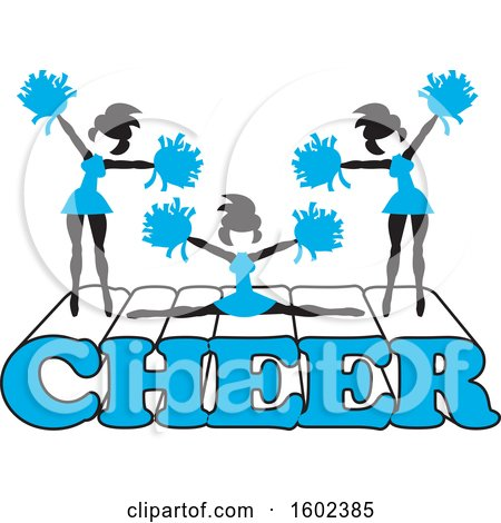 Clipart of Silhouetted Cheerleaders in Blue, Jumping and Doing the Splits on Cheer Text - Royalty Free Vector Illustration by Johnny Sajem