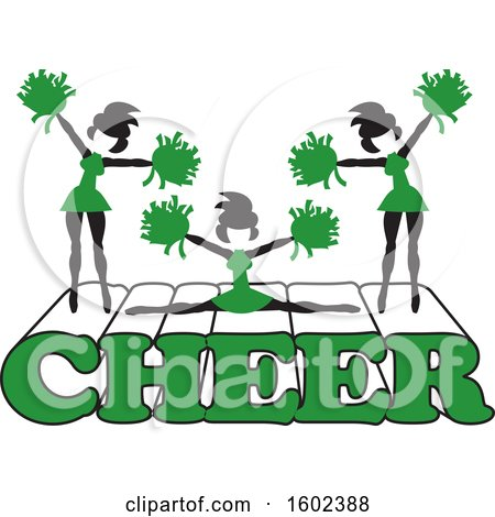 Clipart of Silhouetted Cheerleaders in Green, Jumping and Doing the Splits on Cheer Text - Royalty Free Vector Illustration by Johnny Sajem