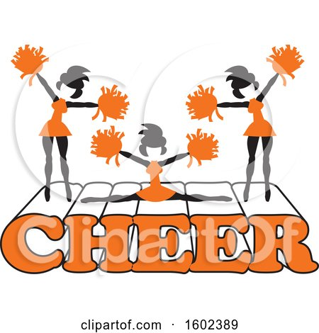 Clipart of Silhouetted Cheerleaders in Orange, Jumping and Doing the Splits on Cheer Text - Royalty Free Vector Illustration by Johnny Sajem