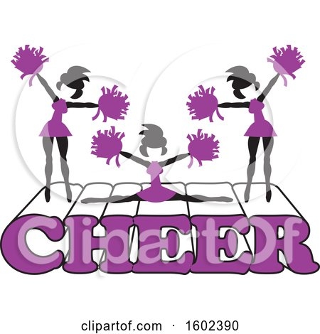 Clipart of Silhouetted Cheerleaders in Purple, Jumping and Doing the Splits on Cheer Text - Royalty Free Vector Illustration by Johnny Sajem